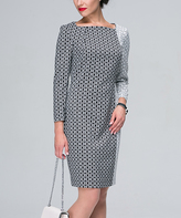 JET Black & White Circle Contrast-Print Sheath Dress
