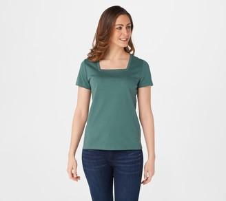 Isaac Mizrahi Live! Essentials Pima Cotton Square Neck T-Shirt