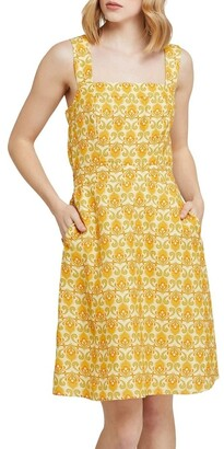 Oxford Tali Printed Linen Dress Yellow