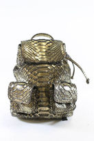 NEW DESIGNER Gold Metallic Python Small Backpack Handbag