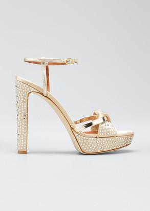 Malone Souliers Lauren Metallic Studded 125mm Platform Sandals