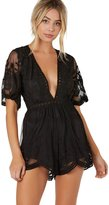 Honey Punch Antique Embroidered Crochet Deep V Neck Romper Lace