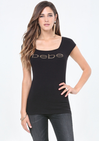 Bebe Logo Square Neck Tee