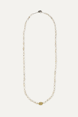 Loree Rodkin Shell, 14-karat Gold And Oxidized Sterling Silver Diamond Necklace