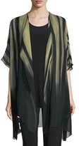 Caroline Rose Exotic Elements Open-Front Cardigan, Moss/Black