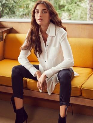 Halston Long Sleeve Georgette Insert Silk Shirt