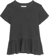 The Great The Ruffle Slub Cotton-jersey T-shirt - Anthracite