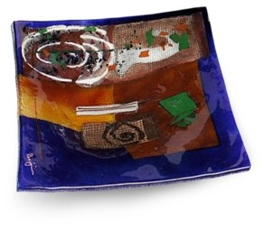 "Jasmine Art Glass 12"" Square Platter"