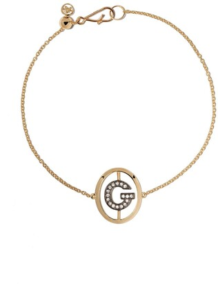 Annoushka 18kt yellow gold diamond initial G bracelet