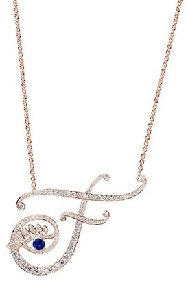 Tabayer Eye 18K Rose Gold, Diamond Sapphire Fearless Pendant Necklace