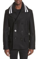 Givenchy Men's Knit Collar Peacoat