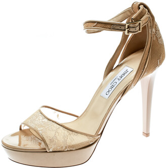 Jimmy Choo Beige Lace and Patent Leather Kayden Ankle Strap Platform Sandals Size 41