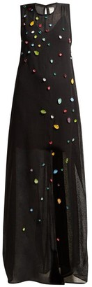 Maison Rabih Kayrouz Jewel-embroidered Gauze Dress - Womens - Black Multi