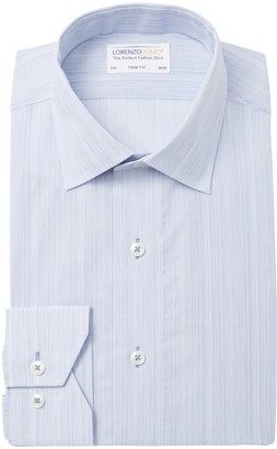 Lorenzo Uomo Soft Vertical Stripe Trim Fit Dress Shirt