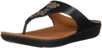 FitFlop Women's Banda Leather Toe-Thong Sandals-Crystal Slide