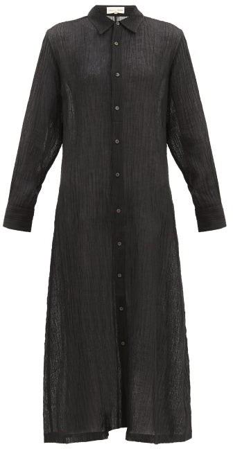 Mara Hoffman Cinzia Crinkled Organic Linen-blend Shirt Dress - Black