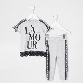 River Island Mini girls Grey 'L'amour' t-shirt outfit