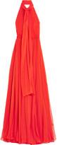 Alexander McQueen Crinkled Silk-chiffon Halterneck Gown - Red
