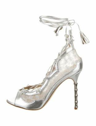 Marchesa Aviana Metallic Leather Sandals Metallic