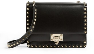 Valentino Medium Rockstud Grained Leather Cross-Body Bag