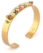 """Satellite Women's """"Kuzco"""" Gold Plated Brass Multicolour Beads and Triangle Lines Medium Bar Cuff"""