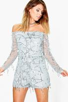 boohoo Amy Off The Shoulder Drop Sequin Playsuit silver