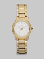Check Stamped Round Stainless Steel Watch/Goldtone