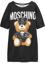 Moschino Oversized Printed Jersey T-shirt Dress - Black