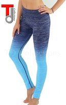 TD Collections Women's Slim Two Tone Workout Full Length Yoga Pants (M, Navy+Ocean Blue)