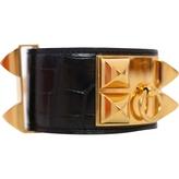 Hermes Collier de chien crocodile bracelet