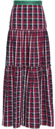 Tiered Checked Cotton Maxi Skirt