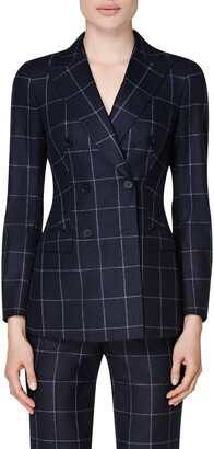 SUISTUDIO Cameron Windowpane Print Double Breasted Wool Blazer
