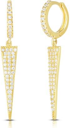 Sphera Milano 14K Yellow Gold Plated Sterling Silver Pave CZ Spike Drop Huggie Hoop Earrings
