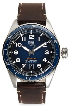 Tag Heuer Autavia Calibre 5 Stainless Steel Leather Strap Watch