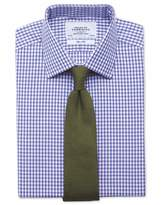 Slim Fit Gingham Purple Cotton Formal Shirt Double Cuff Size 14.5/33
