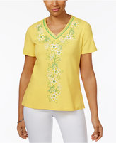 Alfred Dunner Bahama Bays Floral-Embroidered Top
