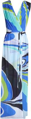 Emilio Pucci Belted Wrap-effect Printed Cotton-blend Maxi Dress
