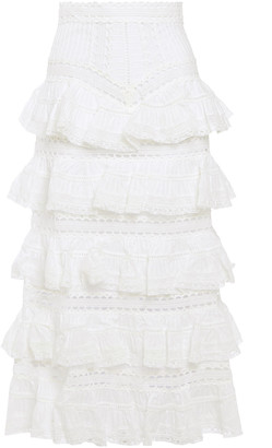 Zimmermann Tiered Ruffled Lace And Cotton-gauze Midi Skirt