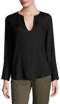 James Perse Crepe Seamed Henley Tee