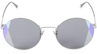 Bottega Veneta 57MM Round Intrecciato Motif Sunglasses