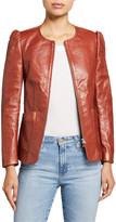 Rebecca Taylor Zip-Front Patch-Pocket Leather Jacket