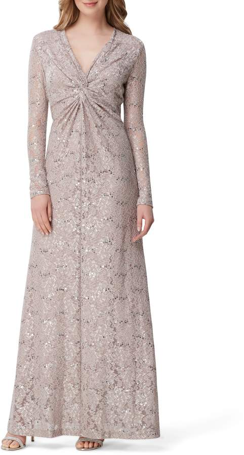 Tahari Long Sleeve Sequin Lace Stretch Gown