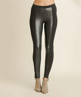 Blu Heaven Black Contrast-Side Faux Leather Leggings