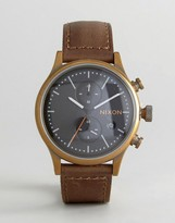 Nixon Station Chronograph Leather Watch In Brown