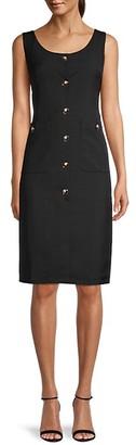 Avantlook Button-Front Sleeveless Sheath Dress