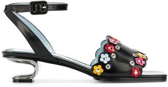 Nicole Saldaña Amanda floral applique sandals