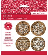 "Dimensions Stitch Art Wood Ornaments Kit 4"" Makes 4-Snowflakes"