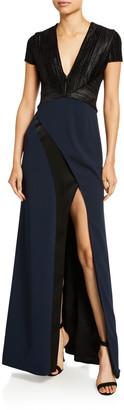 Galvan Cap-Sleeve Petal Gown