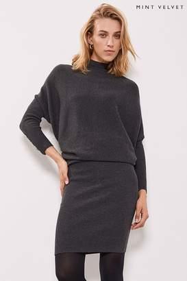 Mint Velvet Womens Grey Button Detail Batwing Dress - Grey