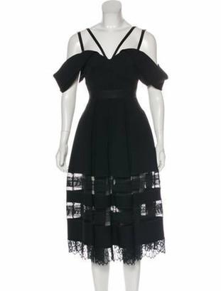 Self-Portrait V-Neck Midi Length Dress Black